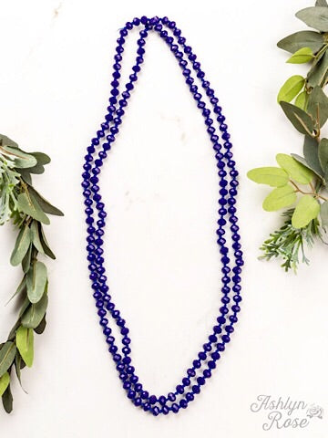 "60"" DOUBLE WRAP BEADED NECKLACE - SAPPHIRE - Coyote Blu"