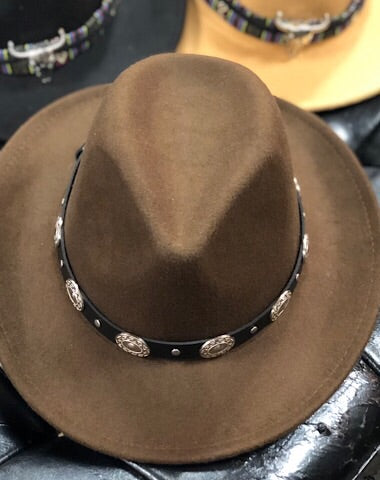 LEATHER BAND COWBOY HAT - BROWN - Coyote Blu