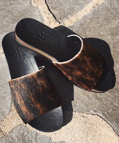 """MELISSA"" COWHIDE WEDGE - BRINDLE - Coyote Blu"