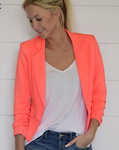 SPRING BLAZER W/ROUCHED SLEEVES - NEON ORANGE - Coyote Blu