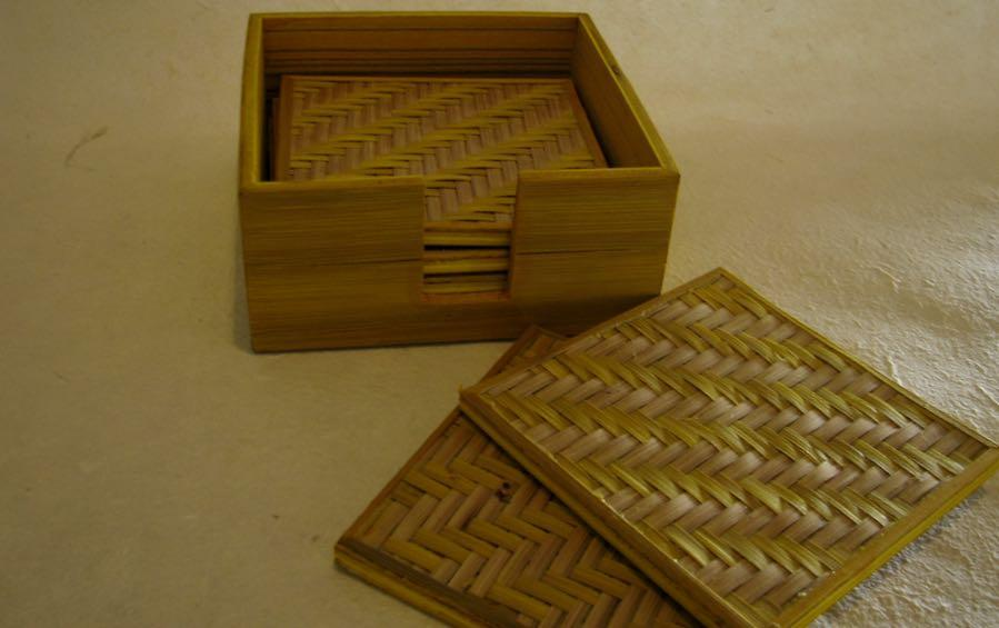 BAMBOO SQUARE COASTERS - Set of 6 - Coasters - indic inspirations