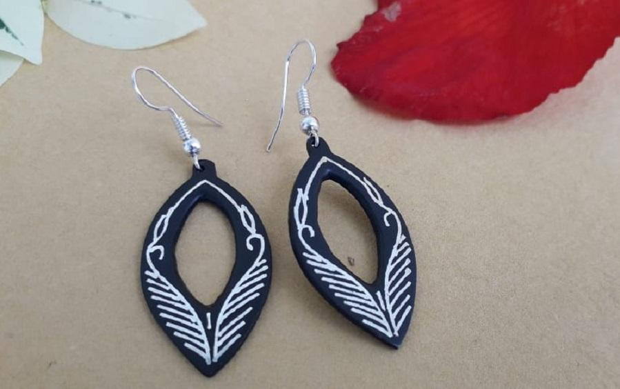 Black Silver Earrings with Bidri Work - Curvy - Earrings - indic inspirations