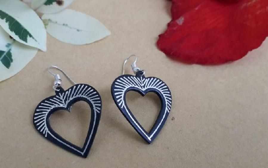 Black Silver Earrings with Bidri Work - Heart - Earrings - indic inspirations