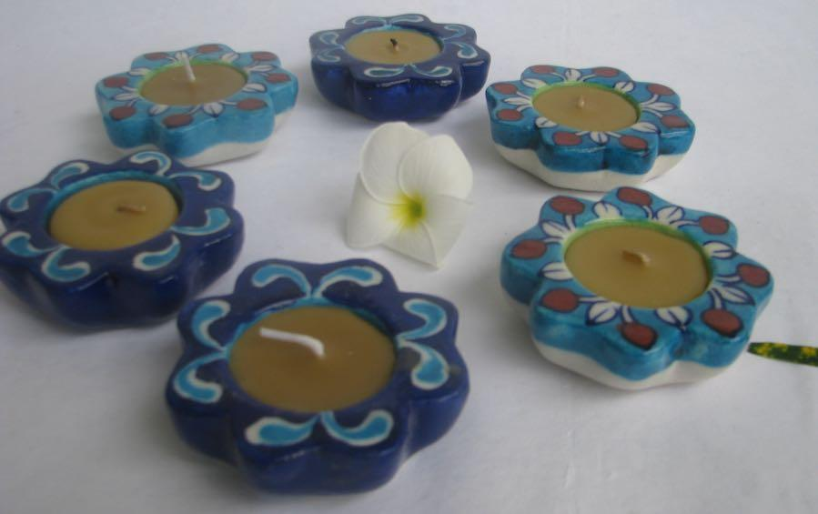 Blue Pottery Diwali Diyas (M) - Set of 6 - Diyas - indic inspirations