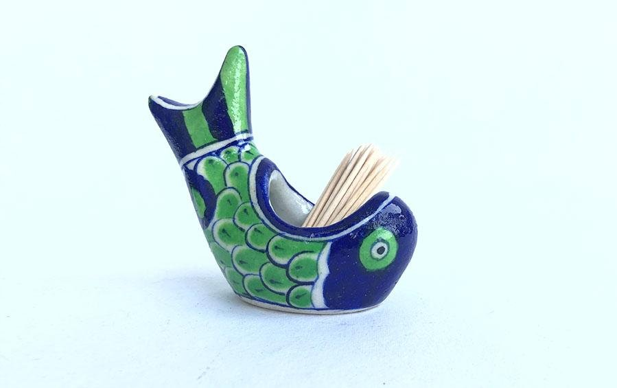 Blue Pottery Fish Toothpick Holder - Desk accessories - indic inspirations