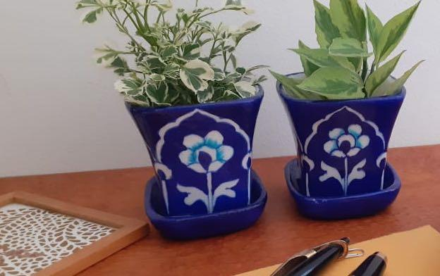 Desktop Mini Planters - Dark Blue - Planters - indic inspirations