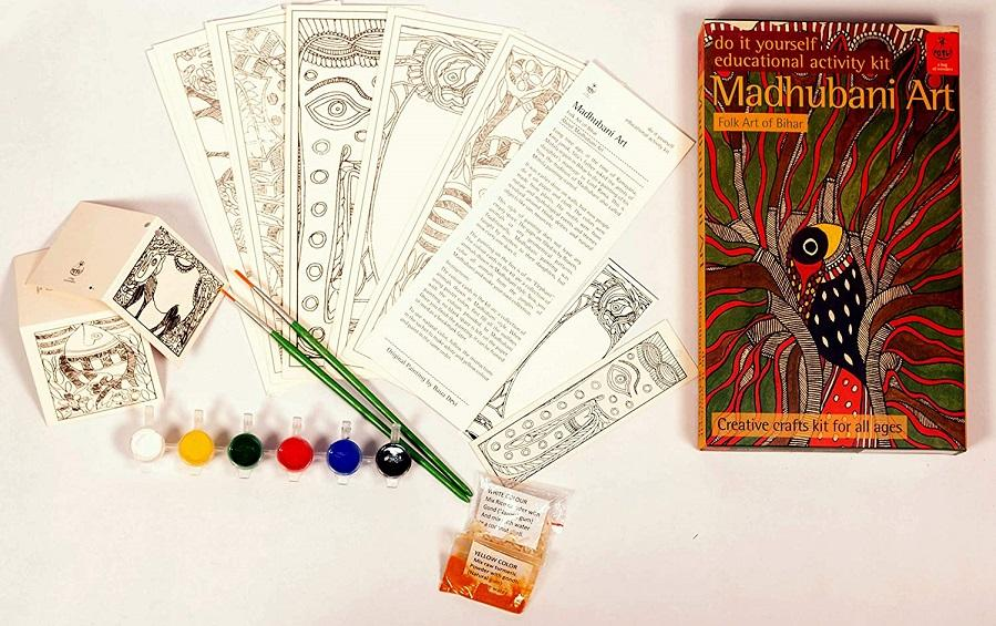 DIY Colouring Kit - Madhubani Painting of Bihar - Craft Kit - indic inspirations