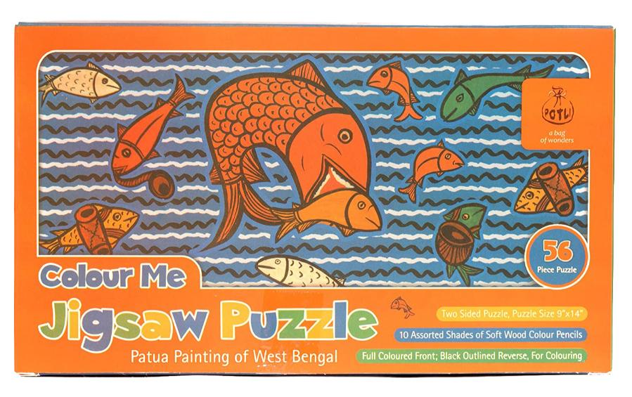 DIY Jigsaw Colouring Kit - Patua Painting of West Bengal - Craft Kit - indic inspirations