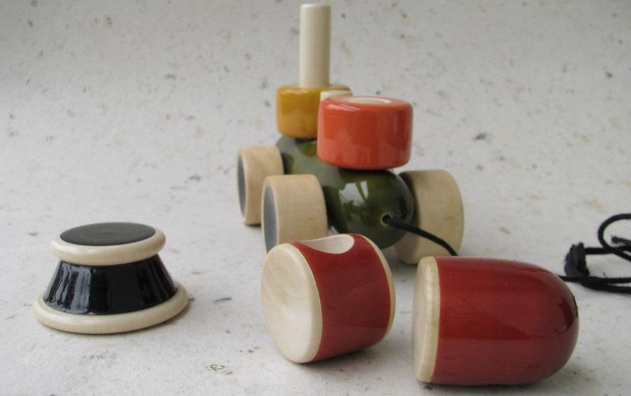 ENGINE STACKER & PULL ALONG - Wooden Toy - indic inspirations