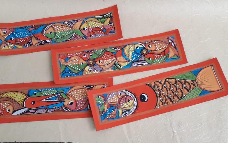 Fish Marriage Bengal Pattachitra - paintings - indic inspirations