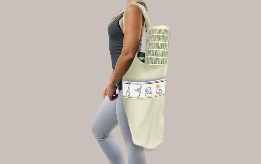 HOBO BAG FOR YOGA - Grey White - Yoga bags - indic inspirations