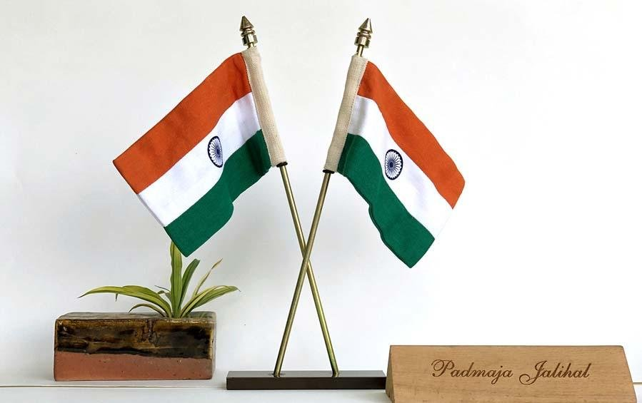 Indian Cross Table 2 Flags Large - Miniature table flags - indic inspirations