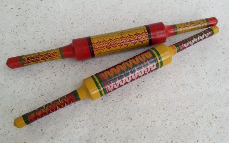 Lacquered Rolling Pins- Set of 2- Red & Yellow - Kitchen tools - indic inspirations