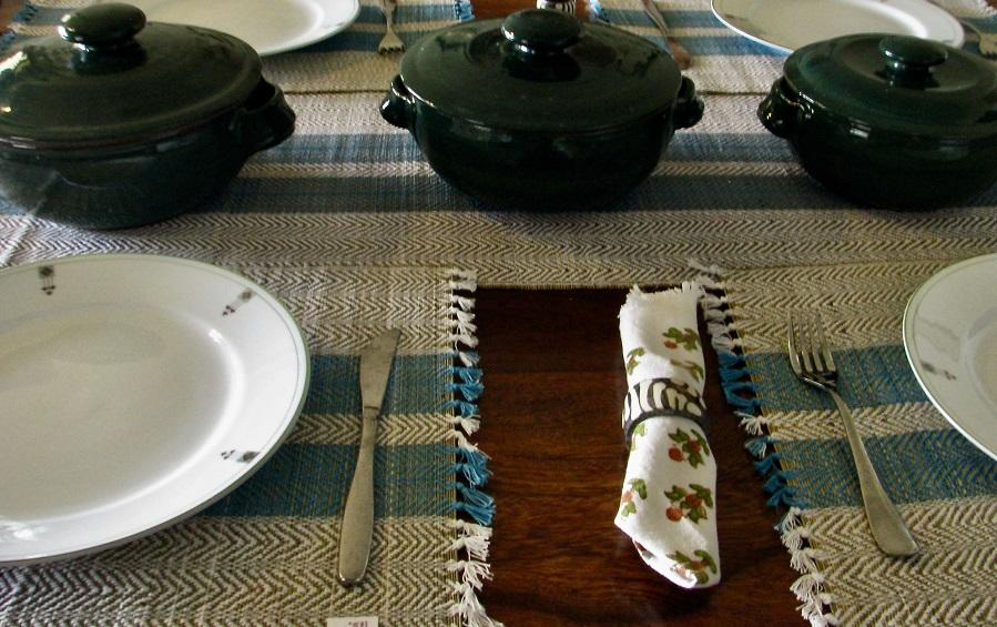 Madur Table Runner Mat Set Blue - table runner and mat sets - indic inspirations