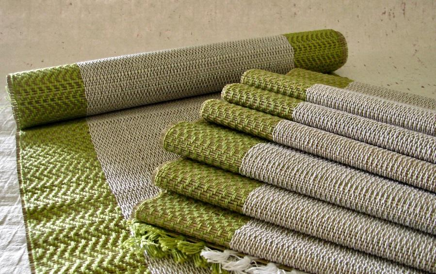 Madur Table Runner Mat Set Green - table runner and mat sets - indic inspirations