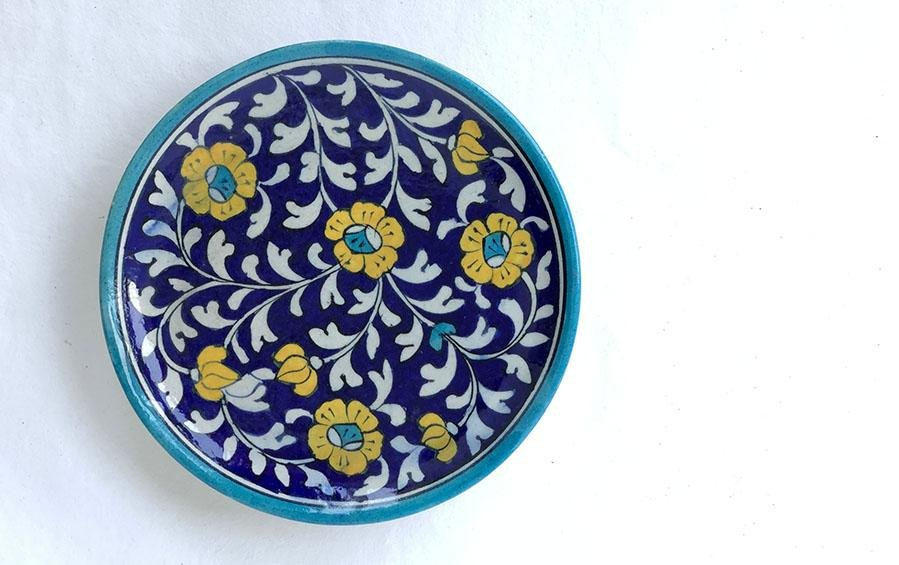 Medium Wall Plate Dark Blue - Wall plates - indic inspirations