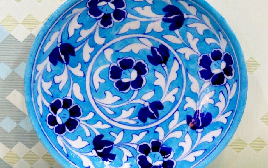 Medium Wall Plate Light Blue - Wall plates - indic inspirations