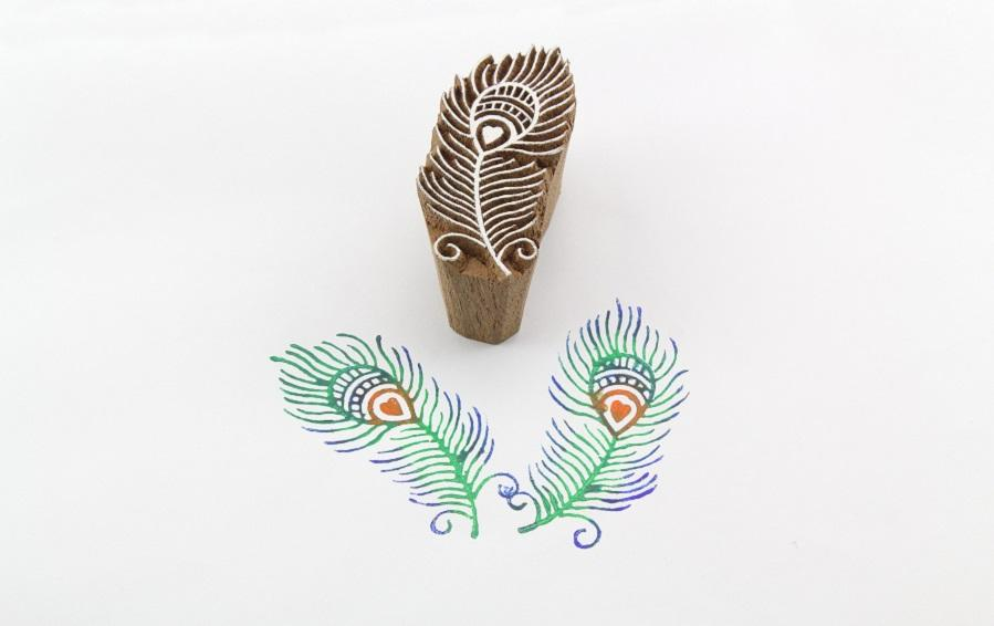 Peacock Feather Wooden Stamp - Block Printers - indic inspirations