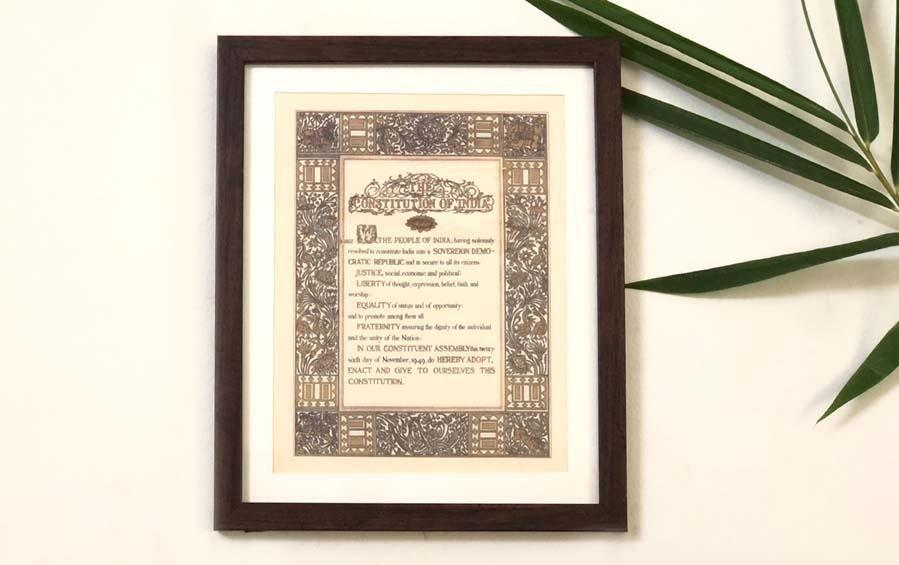 Preamble Of Original Indian Constitution - Wall Frame - Large (A3) - Wall Frames - indic inspirations