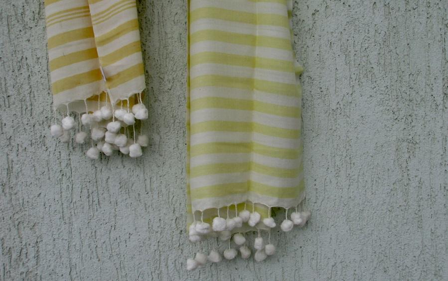SCARF – BENGAL HANDLOOM COTTON | YELLOW STRIPES - Scarves - indic inspirations