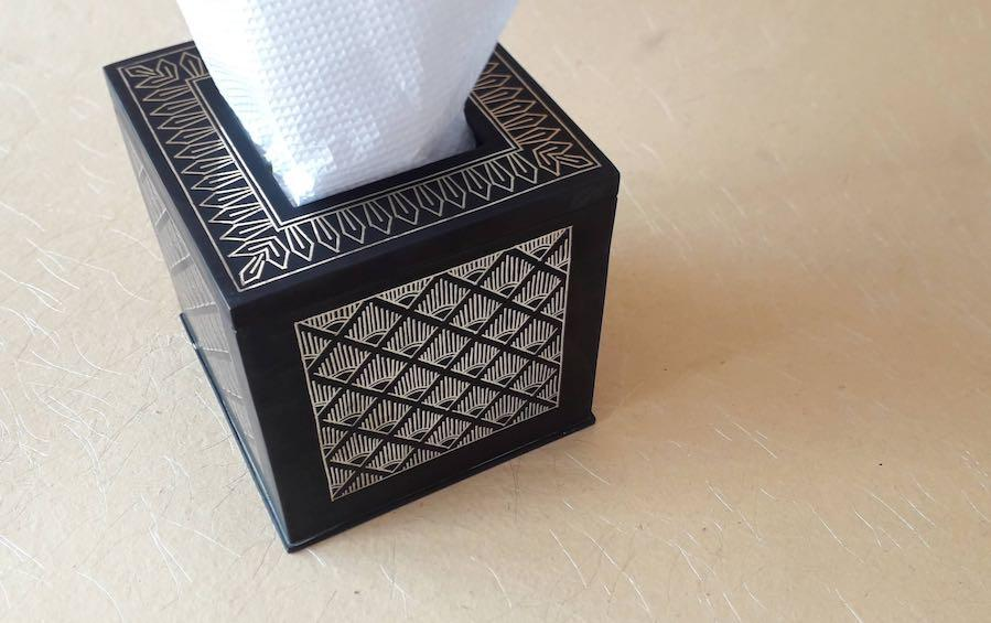Silver Inlay Tissue Box Holder - Tissue boxes - indic inspirations
