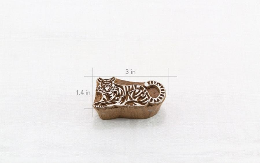 Tiger Wooden Stamp - Block Printers - indic inspirations