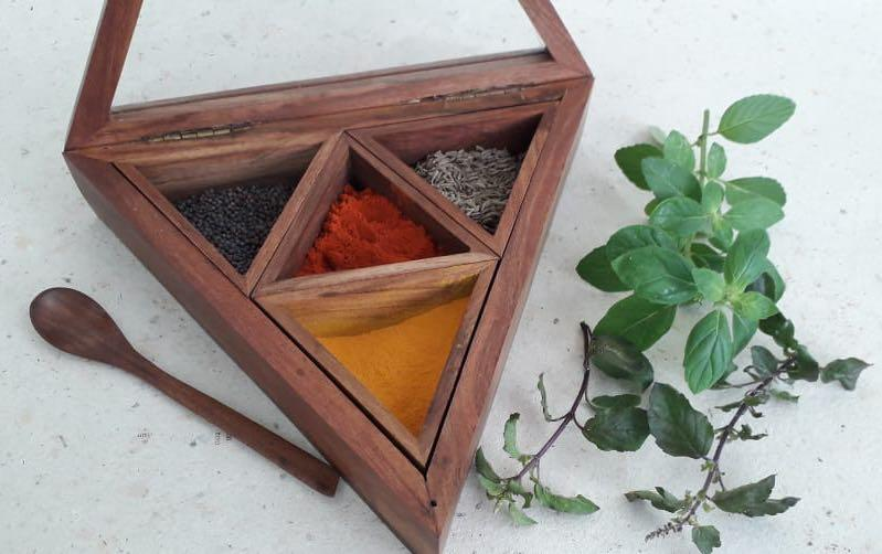 Triangular Wooden Spice Box - Boxes - indic inspirations