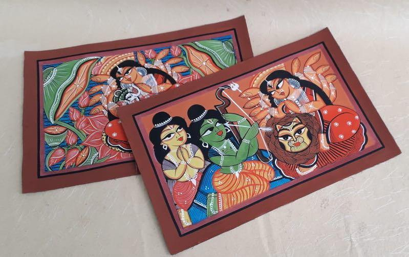 TRIDEVI - BENGAL PATTACHITRA - paintings - indic inspirations