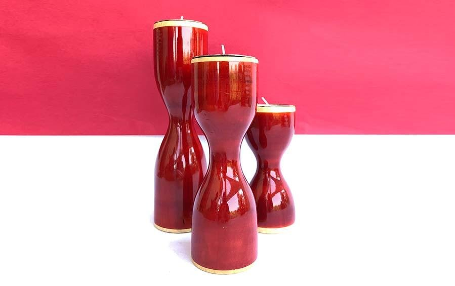 Triune - Candle Holder - Red - Candle holders - indic inspirations