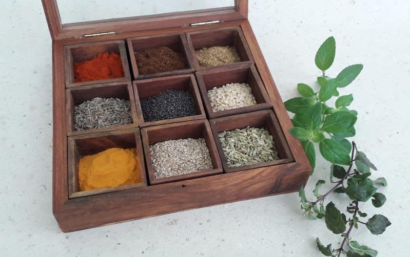 Wooden 9 Chambers Spice Box - Boxes - indic inspirations