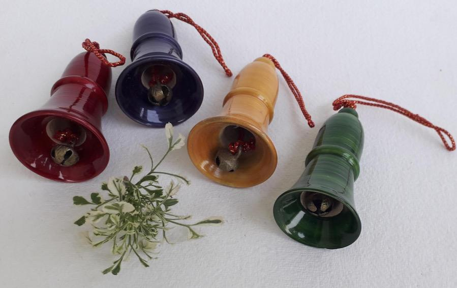 Wooden Bells for Christmas Tree - Set of 4 - Décor hanging - indic inspirations