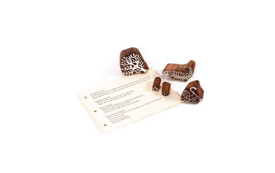 Wooden Block Print DIY Craft Kit - Crocodile and The Monkey - Craft Kit - indic inspirations