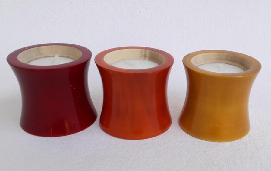Wooden Diyas - Set of 3 - Candle holders - indic inspirations