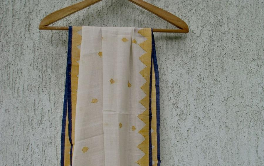 YELLOW TRIANGLES - JAMDANI SCARF - Scarves - indic inspirations