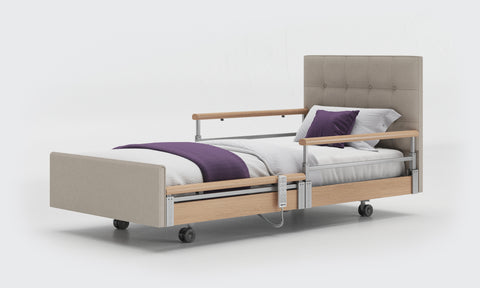 Care bed with half side rails