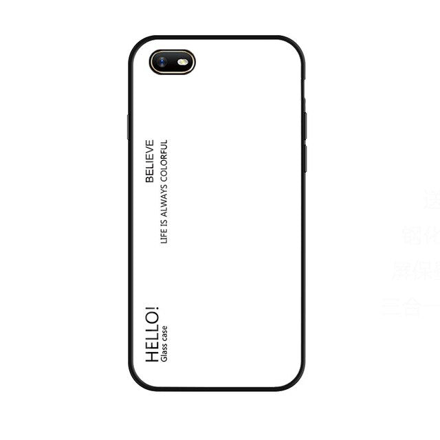 Gradient Tempered Glass Case For OPPO A1K Realme C2 Phone Case Soft Silicone Frame Hard Back Cover For Realme C2 Shockproof