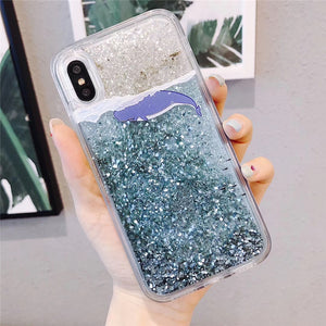 Water Case Liquid Soft Silicone Cover for Oppo F1A F1S F5 Lite F7 F9 F11 Pro Realme C1 X 2 Pro Glitter Star Bling Coque Funda