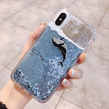 Load image into Gallery viewer, Water Case Liquid Soft Silicone Cover for Oppo F1A F1S F5 Lite F7 F9 F11 Pro Realme C1 X 2 Pro Glitter Star Bling Coque Funda