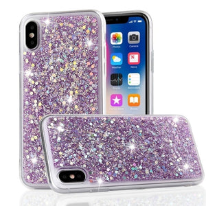 LAPOPNUT Luxury Glitter Gloss Sequins Soft Shockproof Silicone Case Cover for Apple Iphone 11 Xr Xs Max X 8 7 Plus 6 6s 5 5s SE