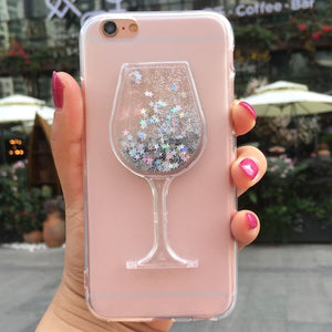 3D Quicksand wine glass Phone case for iphone11 PRO MAX XS MAX X XR Fashion cover for iphone 5 5S 6 6S 7 8 Plus FUNNDA