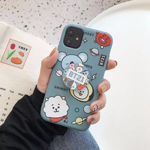 Ms Win Soft Silicone Cases For IPHONE11 pro X XS XR MAX 6 6s 7 8 plus Kpop Bangtan Boys Phone Holder Stand Cover Coque Funda