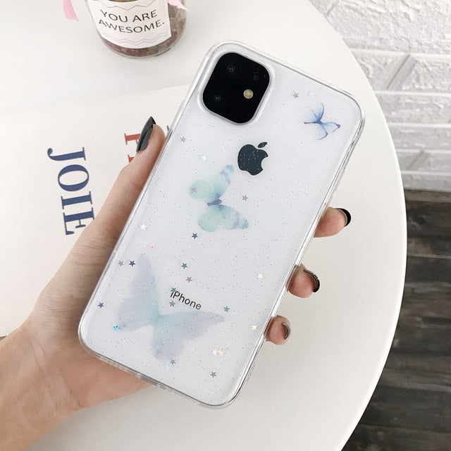 iPWSOO Butterfly Glitter Star Clear Phone Case For iPhone 11 Pro Max X XS XR Xs Max Simple Soft TPU Cover For iPhone 7 8 Plus