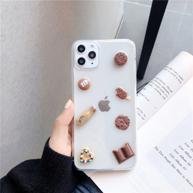 3D Vivid Chocolate Cookies Clear Phone Case for iPhone 11 Pro Max XR XS Max X 6 6S 7 8 Plus Silicone Luxury Soft Back Cover Capa