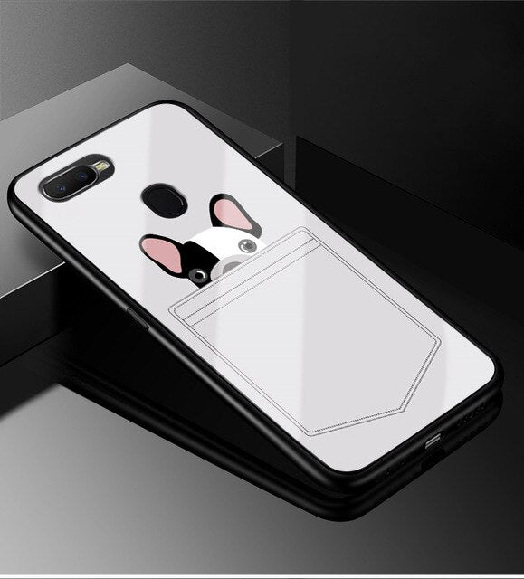 For OPPO A7 Case A5S Tempered Glass Phone Case Black TPU Bumper Cover for OPPO AX7 A5S AX5S A7 A 7 2018 OPPOA7 Glass Back Cover