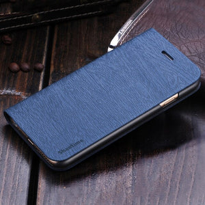 Wood grain PU Leather Phone Case For OPPO A3S Flip Book Case For OPPO A5 Business Wallet Case Soft Silicone Back Cover