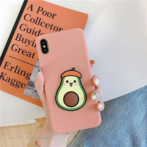 For Xiaomi Redmi Note 8 Pro 7 5 6 4X Case 3D Cute Cartoon Avocado Flower Foldable Holder Cover For Redmi K20 7 8A 6 6A Soft Case