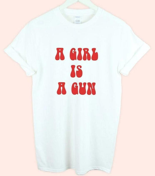 A Girl Is a Gun Vintage Hippie Boho Graphic Cool Gift Men Women Unisex T-Shirt - Teetaho