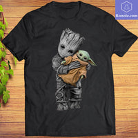 Baby Groot hug Baby Yoda Mandalorian T-Shirt Movie Shirts - Teetaho