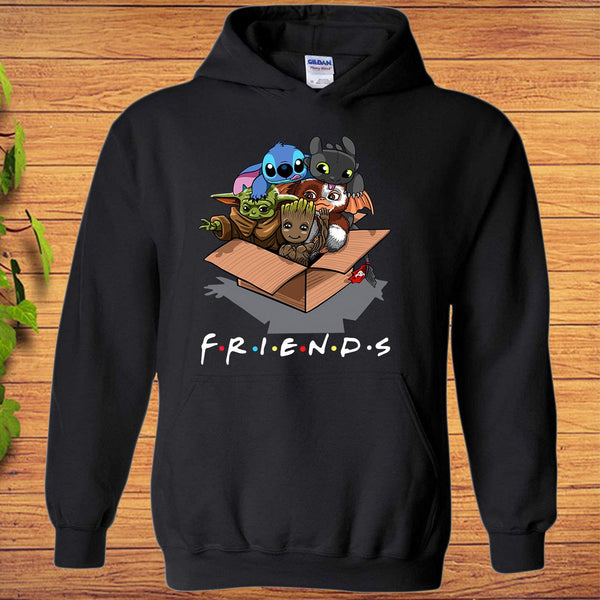 Baby Yoda Baby Groot and Toothless Stitch Gizmo Friends Hoodie - Teetaho