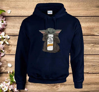 Baby Yoda Drinking Baby Claw-White Claw Hard Seltzer Star War The Mandalorian Fan Hoodie - Teetaho